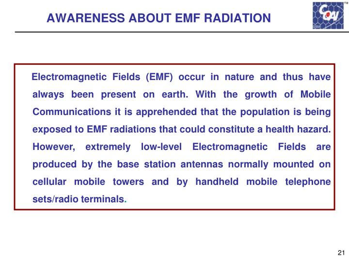 AWARENESS ABOUT EMF RADIATION