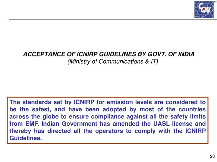 ACCEPTANCE OF ICNIRP GUIDELINES BY GOVT. OF INDIA