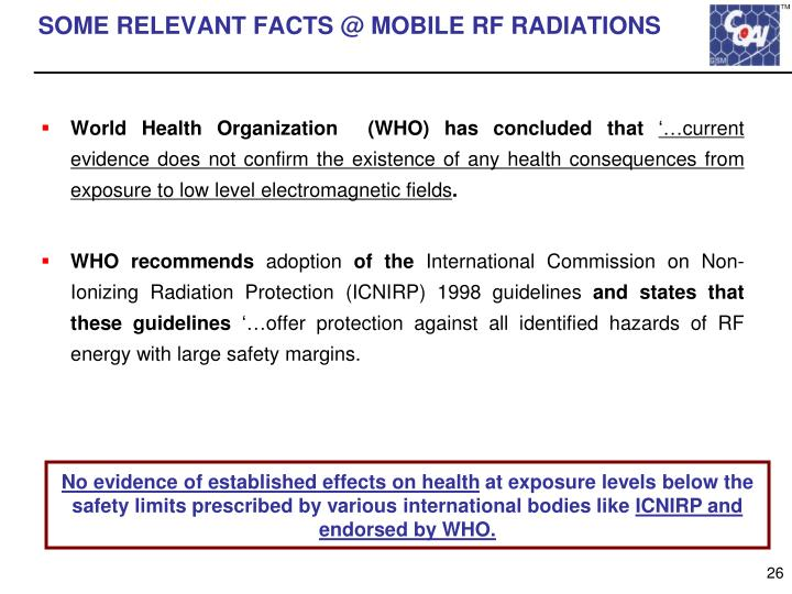 SOME RELEVANT FACTS @ MOBILE RF RADIATIONS