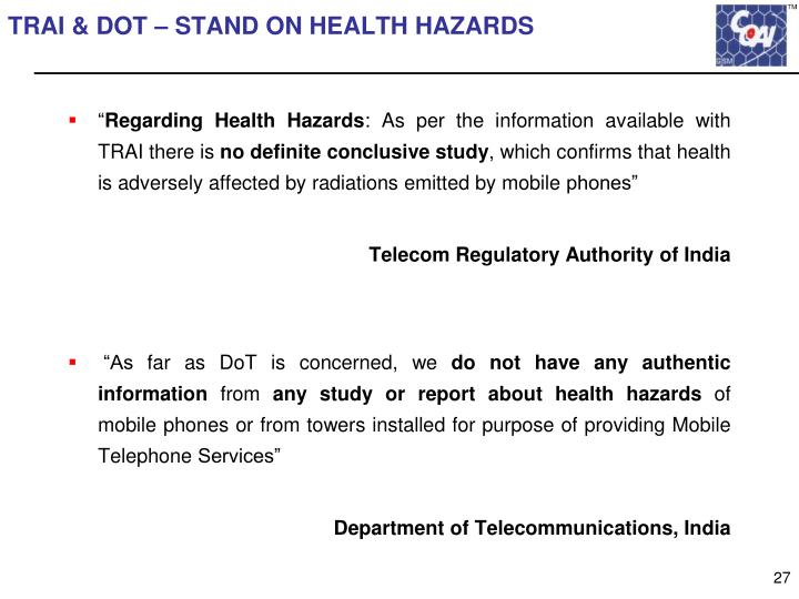 TRAI & DOT – STAND ON HEALTH HAZARDS