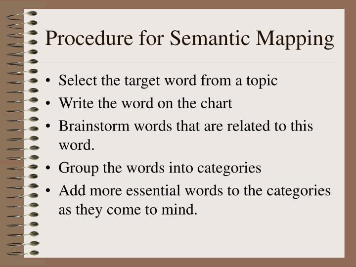 Procedure for Semantic Mapping
