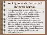 writing journals diaries and response journals