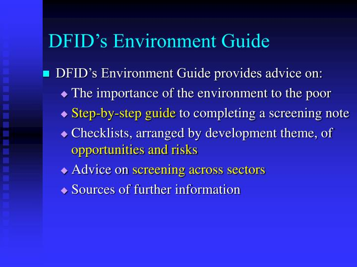 DFID's Environment Guide