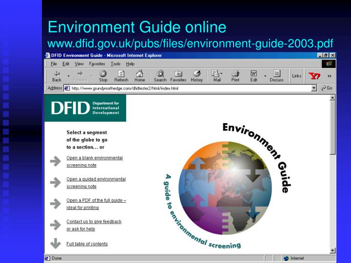 Environment Guide online