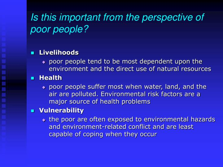 Is this important from the perspective of poor people?