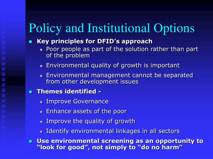 Policy and Institutional Options