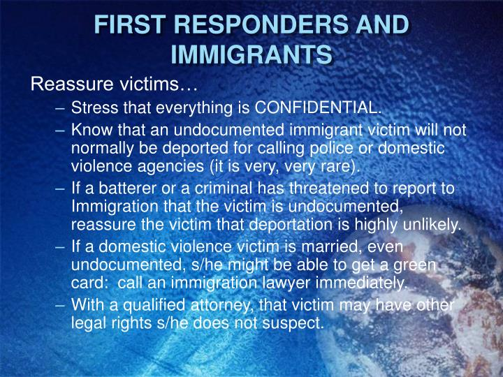 FIRST RESPONDERS AND IMMIGRANTS