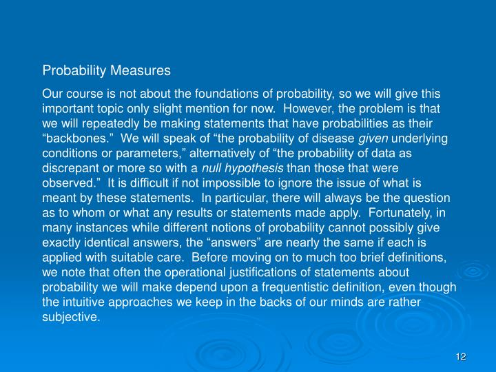 Probability Measures
