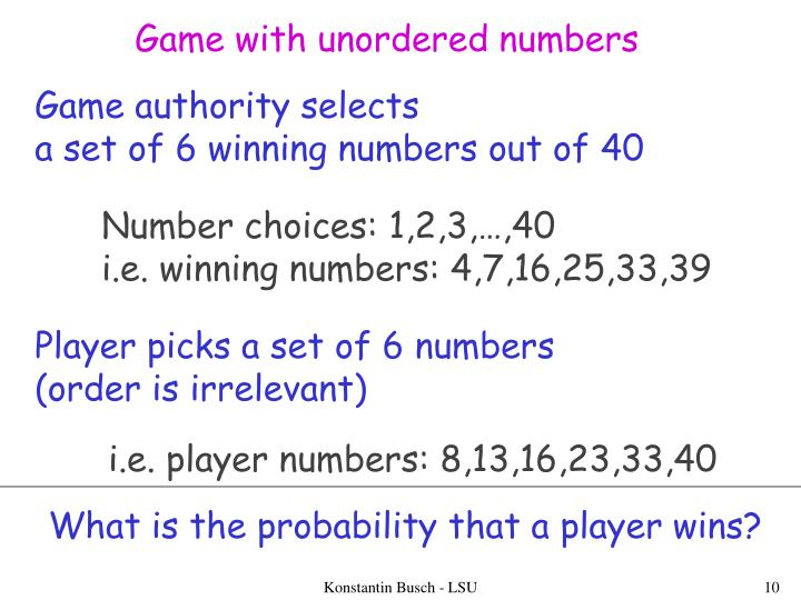 Game with unordered numbers