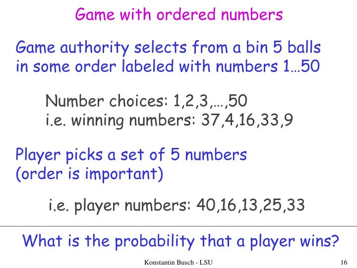 Game with ordered numbers