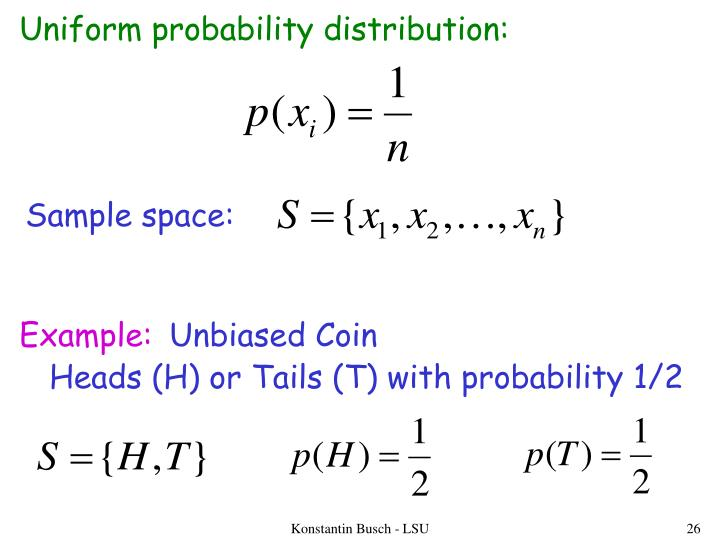 Uniform probability distribution: