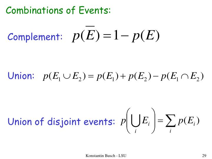 Combinations of Events: