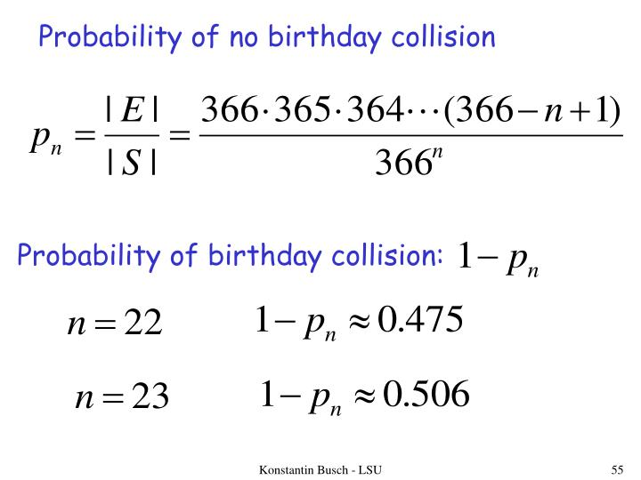 Probability of no birthday collision