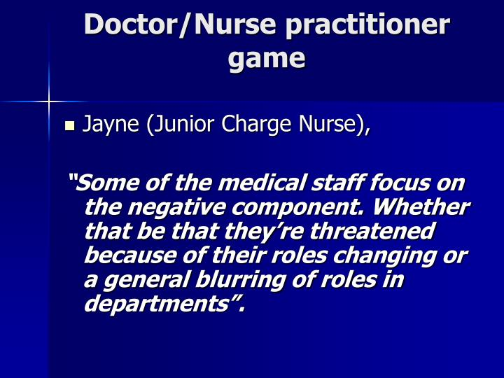 Doctor/Nurse practitioner game