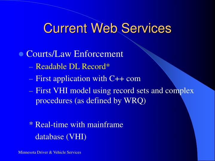 Current Web Services