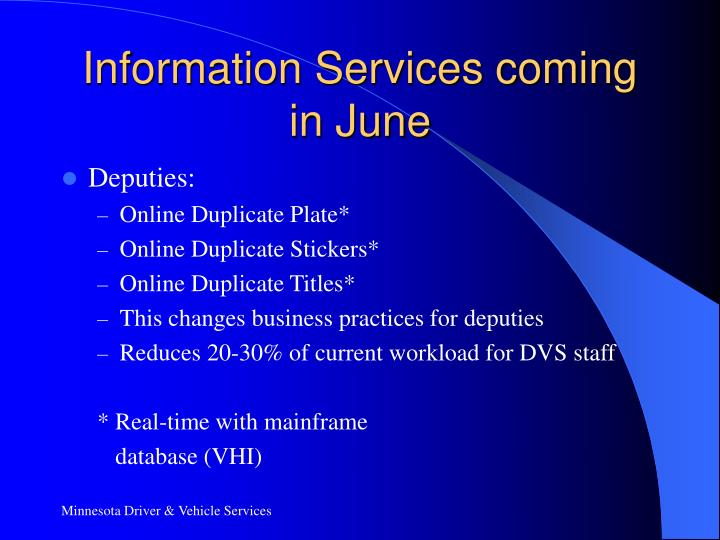Information Services coming in June