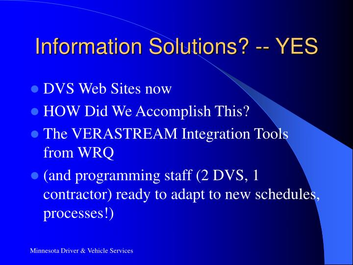 Information Solutions? -- YES