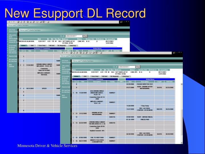 New Esupport DL Record
