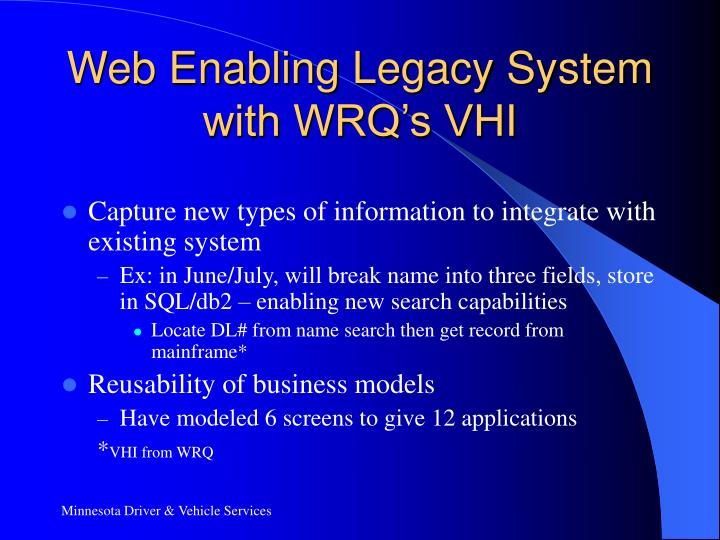 Web Enabling Legacy System with WRQ's VHI