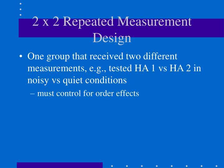 2 x 2 Repeated Measurement Design