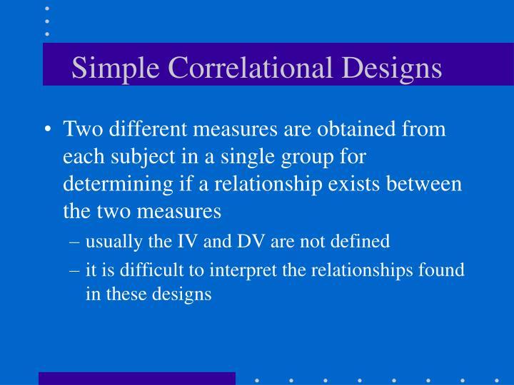 Simple Correlational Designs