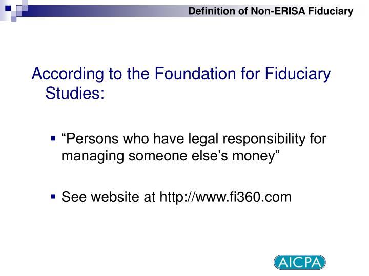 Definition of Non-ERISA Fiduciary