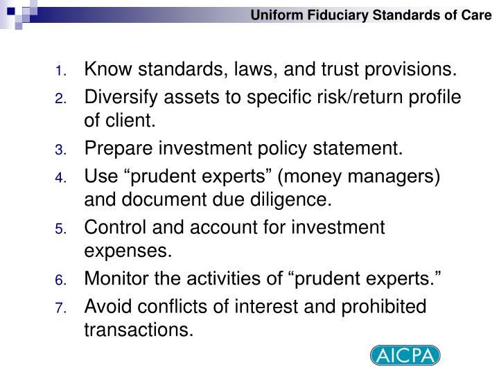 Uniform Fiduciary Standards of Care