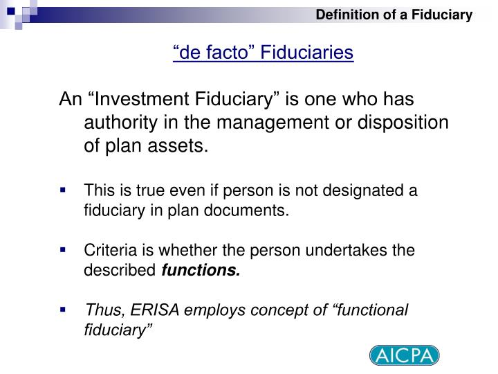 Definition of a Fiduciary