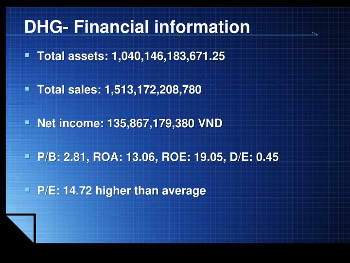 DHG- Financial information