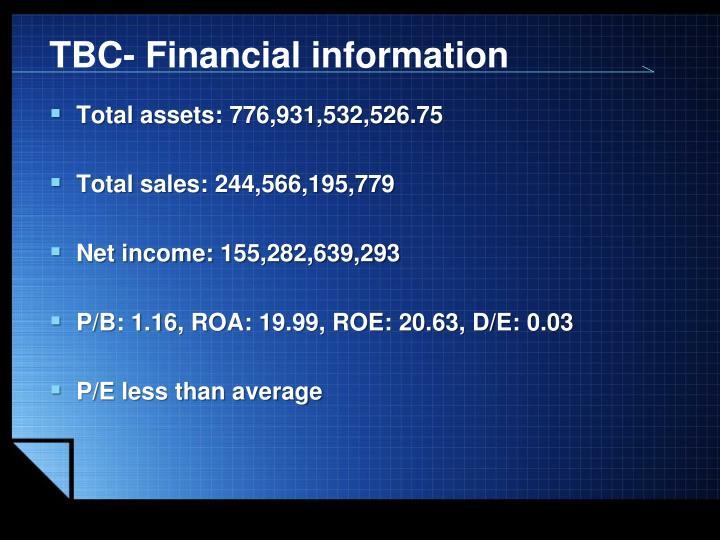 TBC- Financial information