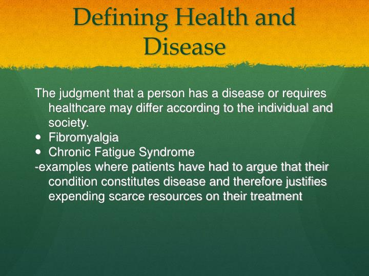 Defining Health and Disease