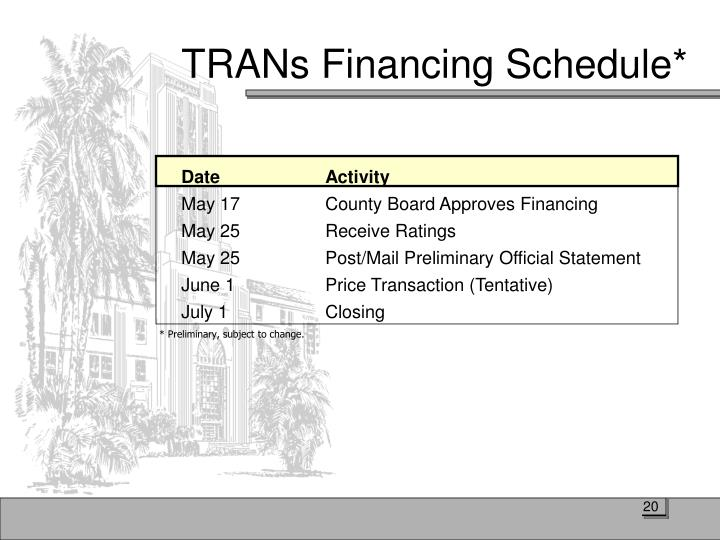 TRANs Financing Schedule*