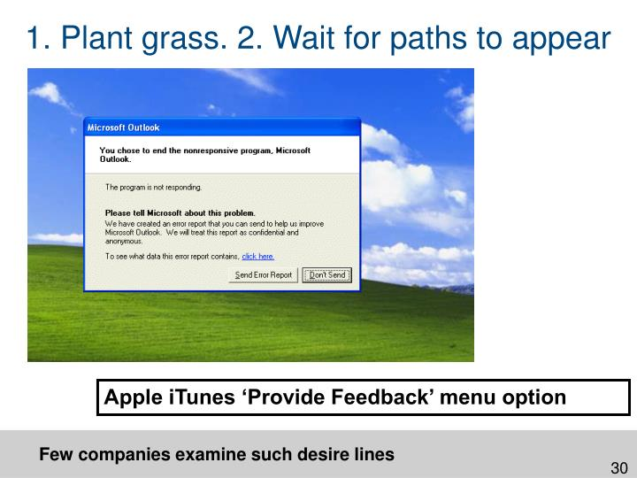 1. Plant grass. 2. Wait for paths to appear