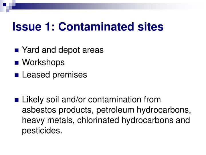 Issue 1 contaminated sites