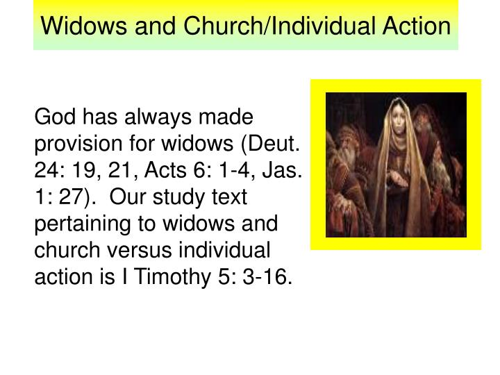 widows and church individual action