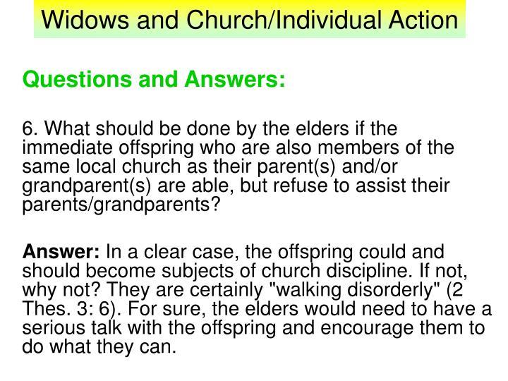 Widows and Church/Individual Action