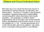 widows and church individual action8