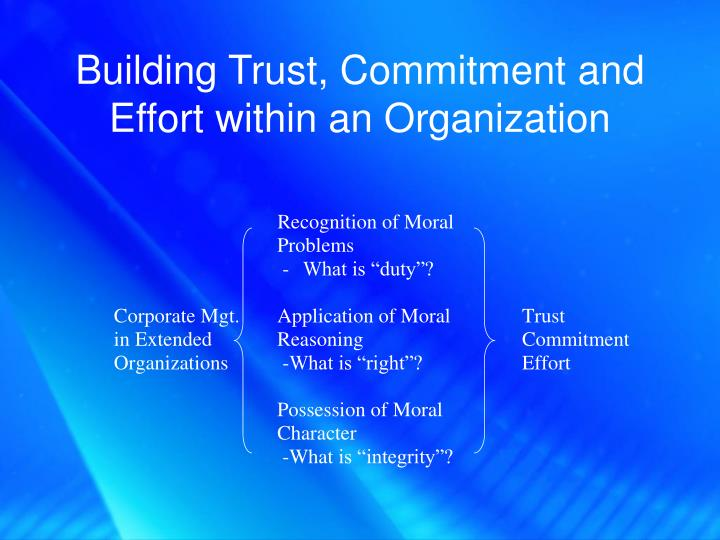 Building Trust, Commitment and Effort within an Organization