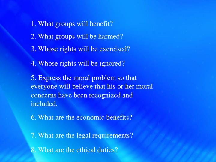 1. What groups will benefit?