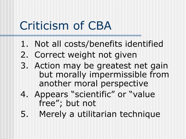 Criticism of CBA
