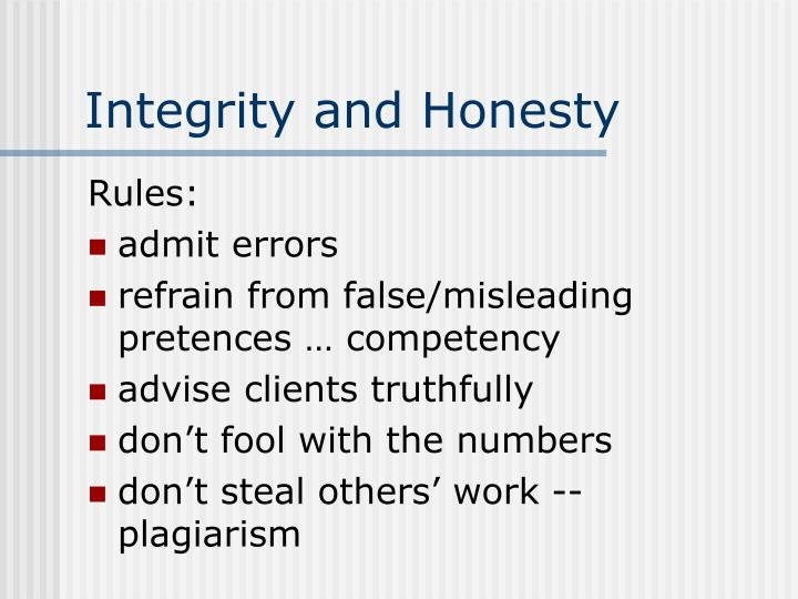 Integrity and Honesty