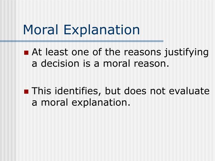 Moral Explanation