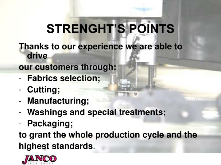 STRENGHT'S POINTS