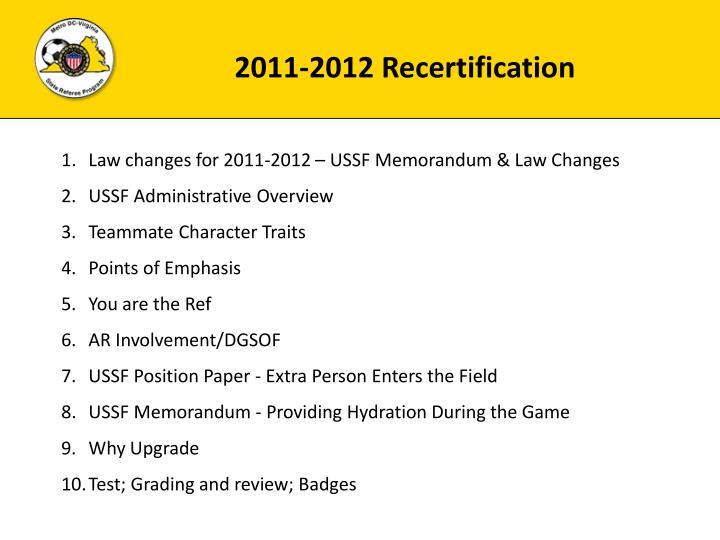 2011-2012 Recertification