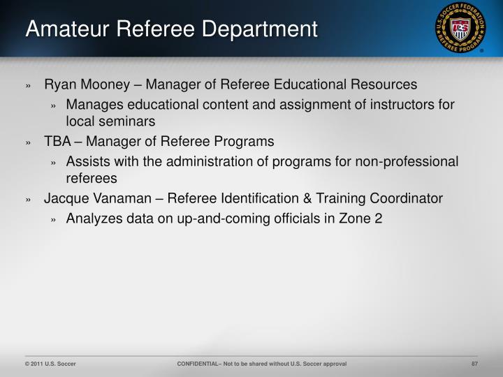 Amateur Referee Department
