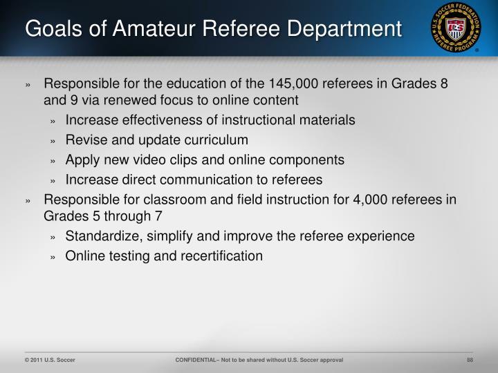 Goals of Amateur Referee Department
