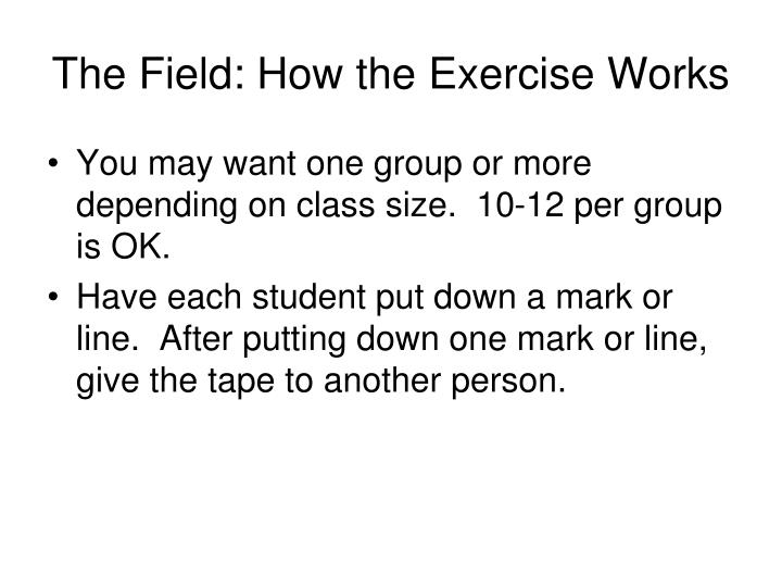 The Field: How the Exercise Works