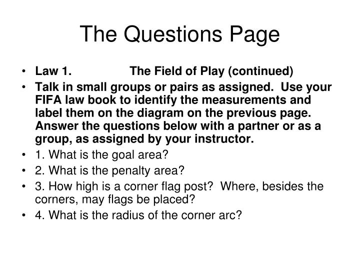 The Questions Page