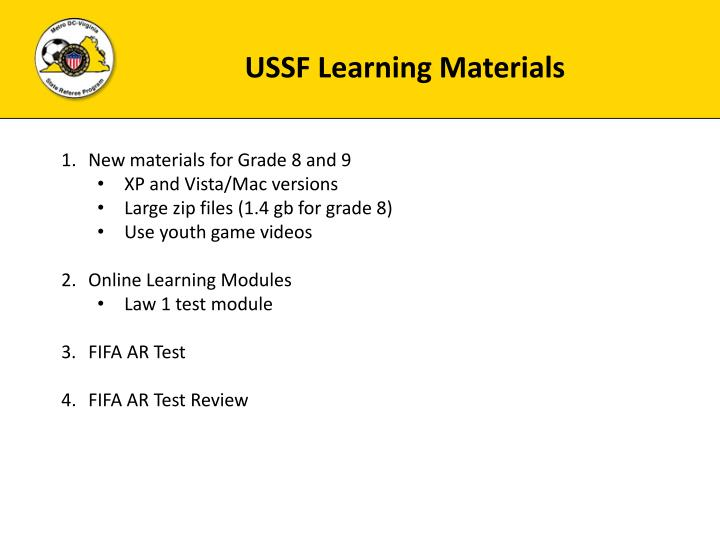 USSF Learning Materials