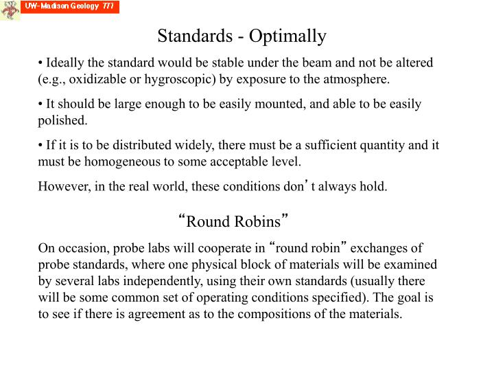 Standards - Optimally